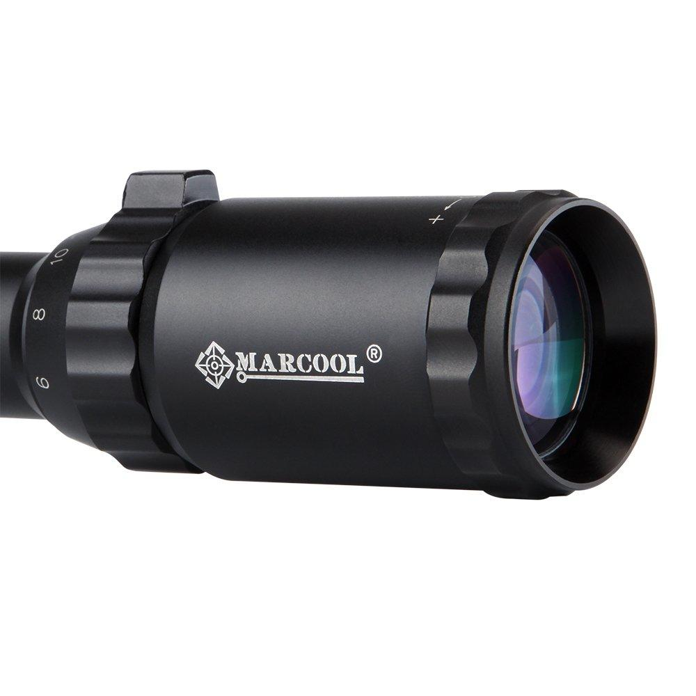 MARCOOL EST 6-24X50 AOIRGL HUNTING SCOPE BLACK ANODIZED WITH SUNSHADE RINGS MAR-104